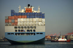 Heck des Containerschiffs Lizenzfreies Stockbild