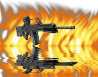 Heckler&Koch SL8 machine gun. On flaming background - mirrored on water Stock Photography