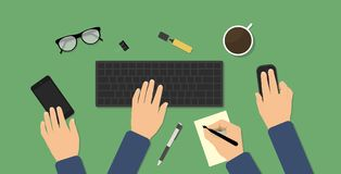 Hectic business workspace stock illustration