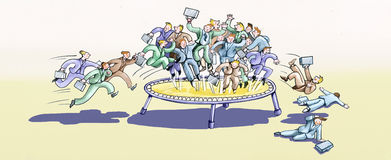Hectic merciless world of work. The frantic rush of workers on a trampoline to get a job Royalty Free Stock Photography