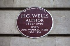 Hectogramo de placa de Wells en Londres Fotografía de archivo libre de regalías
