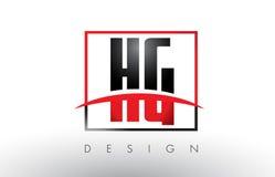 Hectogramo H G Logo Letters con colores rojos y negros y Swoosh Imagen de archivo