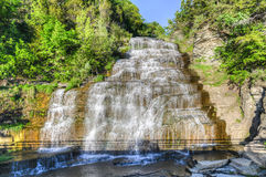 Hector Falls, Finger Lakes, NY. Hector falls in New York surrounded by trees and plants. A beautiful roadside waterfall just north of Watkins Glen Stock Photography