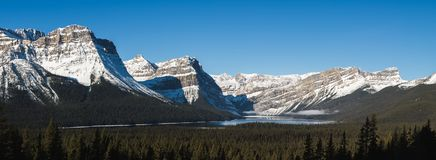 Hector Lake panorama in the rocky mountains. On icefields parkway. Banff, Alberta, Canada Royalty Free Stock Image