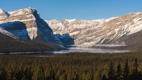 Hector Lake in the rocky mountains. On icefields parkway. Banff, Alberta, Canada Stock Image