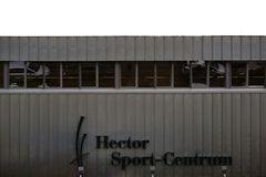 Hector Sports Center Weinheim. Weinheim, Germany - November 25, 2017: The metal facade of the Hector Sports Center a venue for sports clubs and sports activities Royalty Free Stock Photography