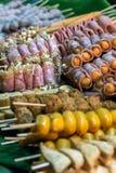 Hed Pun Ham Yang - alimento tailandese della via del barbecue di stile immagini stock libere da diritti
