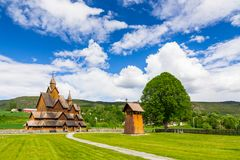 Heddal, the largest Norwegian stave church on a sunny day. Heddal, the largest Norwegian stave church Stock Photos
