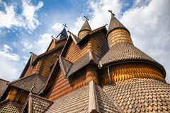 Heddal Stave Church facade Telemark Norway Scandinavia. Facade detail of 13th century wooden Heddal Stave Church, the largest remaining stave church in Norway royalty free stock images