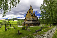 Heddal Stave Church and his Wall. A shot of Heddal Stave church and his surounding wall Royalty Free Stock Photography