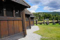 Heddal stave church, Telemark, Norway. Detail of Heddal stave church wall, the largest stave church in Norway Royalty Free Stock Images