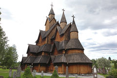 Heddal stavkirke in Norway. Old wooden Heddal stavkirke in Norway Royalty Free Stock Images