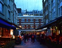 David Bowies Ziggy Stardust album cover location at night. Heddon Street, London, United Kingdom. stock photos