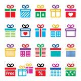 Heden, de kleurrijke geplaatste pictogrammen van de giftdoos Stock Fotografie