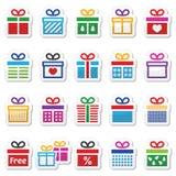 Heden, de kleurrijke vector geplaatste pictogrammen van de giftdoos Royalty-vrije Stock Foto