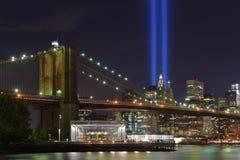 Hedersgåva i ljus, 9/11 Manhattan, 2016 Arkivbild
