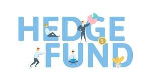 Hedge Fund Begrepp med nyckelord, bokstäver och symboler Kulör plan vektorillustration på vit bakgrund stock illustrationer