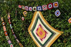 Hedge Squares  Womens Institute Yarn Bombing Royalty Free Stock Photography