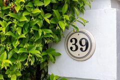 39 and a Hedge. A Thirty Nine Plaque on a column next to a vine and shrub hedge Royalty Free Stock Images