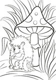 The hedgegoh and the baby seat near the big toadstool. Royalty Free Stock Image