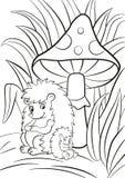 Hedgegoh i dziecka siedzenie blisko dużego muchomoru Obraz Royalty Free