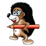 Hedgehog 09 with pencil Royalty Free Stock Photography