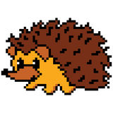 Hedgehog abstract isolated on a white background. Vector illustration in the style of old-school pixel art. Royalty Free Stock Image