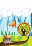 Hedgehog agradável com a maçã vermelha no trajeto Fotos de Stock Royalty Free