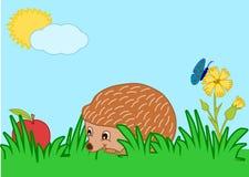 Hedgehog with an apple. Cartoon hedgehog with an apple and a flower vector illustration