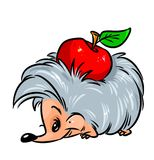 Hedgehog apple cartoon illustration Royalty Free Stock Photos