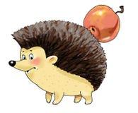 Hedgehog Apple funny cartoon figure Royalty Free Stock Photography