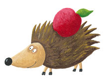 Hedgehog with apple on his back Royalty Free Stock Photos