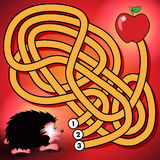 Hedgehog and apple maze game Stock Photos