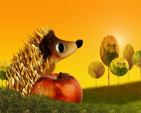Hedgehog and autumn Stock Image