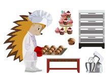 Hedgehog baker. Set. Vector illustration. Isolated on a white background stock illustration