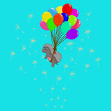 Hedgehog on balloons. With dandelions Stock Photography