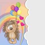 Hedgehog with balloons Stock Photos