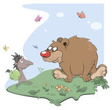 Hedgehog and bear cartoon Stock Photos