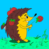 Hedgehog with berries and fruits on glade Royalty Free Stock Photo