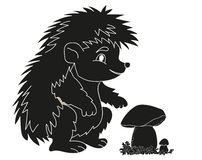 Hedgehog black silhouette fungus. Character Royalty Free Stock Images