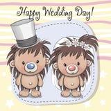 Hedgehog Bride and Hedgehog groom. Greeting card Hedgehog Bride and Hedgehog groom Stock Photo