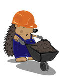 Hedgehog builder with cart Royalty Free Stock Photo