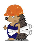 Hedgehog builder with drafts stock illustration