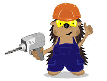 Hedgehog builder with a drill royalty free illustration
