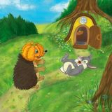 Hedgehog and bunny on a halloween vector illustration