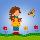 Hedgehog and butterfly. Cartoon characters. Illustration for children Stock Photos
