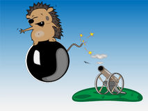 Hedgehog on a cannon-ball Royalty Free Stock Photography