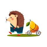 Hedgehog Carrying a Pear in Barrow. Vector Stock Photos