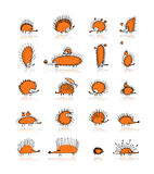 Hedgehog collection, sketch for your design Royalty Free Stock Photo