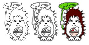 Hedgehog coloring vector Stock Image